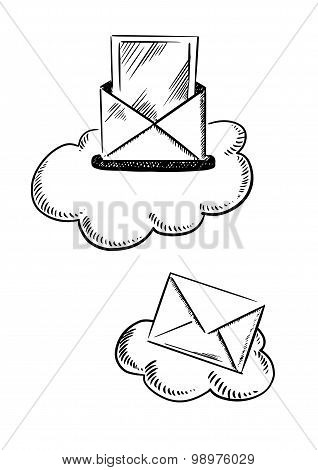 E-mail symbols with letters and clouds