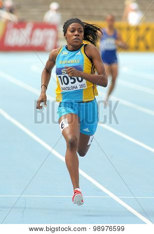 BARCELONA - JULY, 11: Rashan Brown of Bahamas in action on 400 meters of the 20th World Junior Athletics Championships at the Olympic Stadium on July 11, 2012 in Barcelona, Spain
