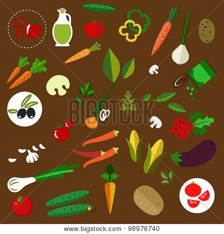 Fresh vegetables and herbs flat icons