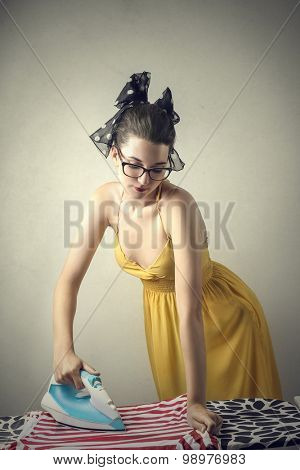Woman doing the ironing