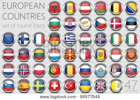 European Flags. Metal Round Icons