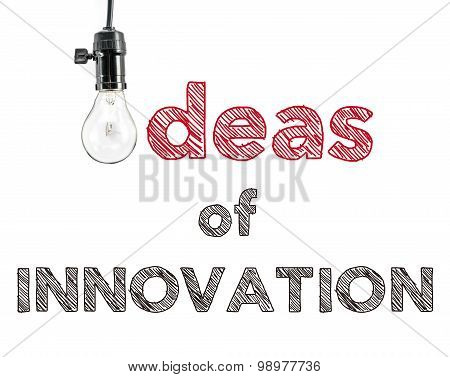 Ideas Of Innovation Phrase And Light Bulb, Hand Writing