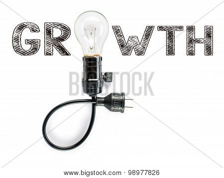Growth Phrase And Light Bulb, Hand Writing, Aggressive Challenges , Incentive