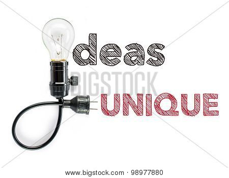 Ideas Unique Phrase And Light Bulb, Hand Writing Big Idea