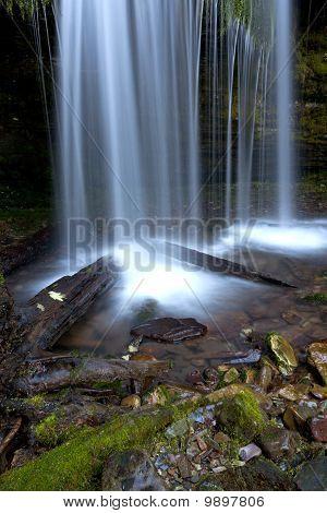 Splashing water from the falls.