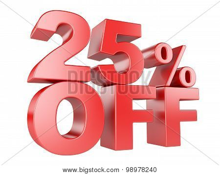 25 Percent Off 3D Icon.