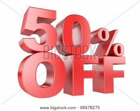 50 Percent Off 3D Icon.