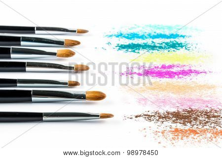 Multi Colored Powder Eyeshadow With Brush, Fashion Beauty