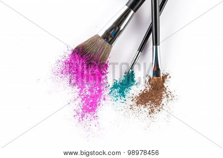 Multi Colored Powder Eyeshadow On A Brush, Fashion Beauty Tool