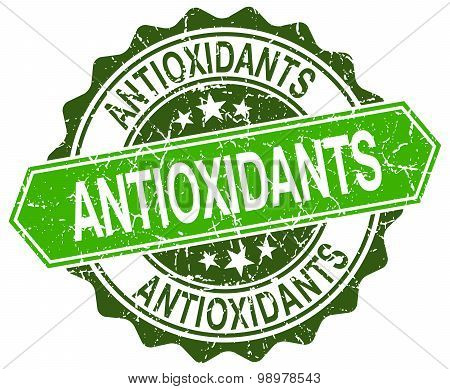 Antioxidants Green Round Retro Style Grunge Seal