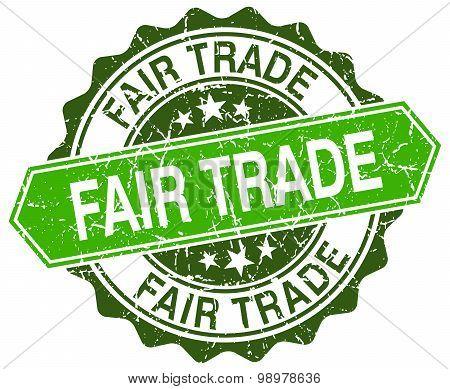 Fair Trade Green Round Retro Style Grunge Seal