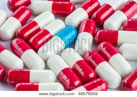 Blue Capsules And Red Capsules, Medication Cure Close Up
