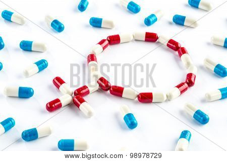 Red Capsule And Blue Capsule In Gender Symbol, Women's Health