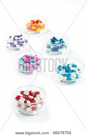 Colorful Capsule In Pill Container,  Healthcare And Medicine