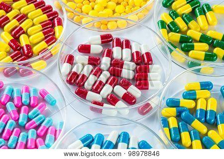 Colorful Medicament In Petri Dish,  Healthcare And Medicine