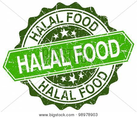 Halal Food Green Round Retro Style Grunge Seal