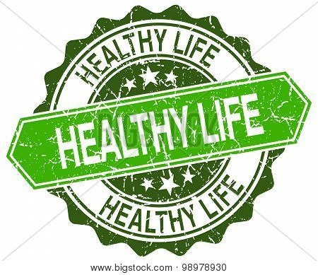 Healthy Life Green Round Retro Style Grunge Seal
