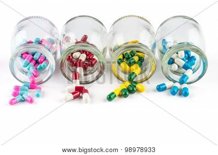 Colorful Capsule In  Transparent  Bottle,  Healthcare And Medicine