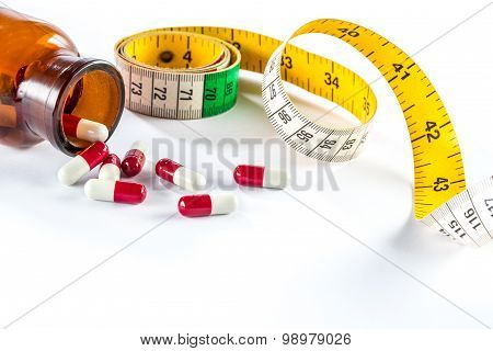 Measuring Tape With Capsule,  Dieting By Medicine