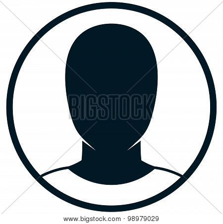 Vector Man Head Isolated On White