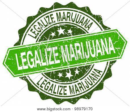 Legalize Marijuana Green Round Retro Style Grunge Seal