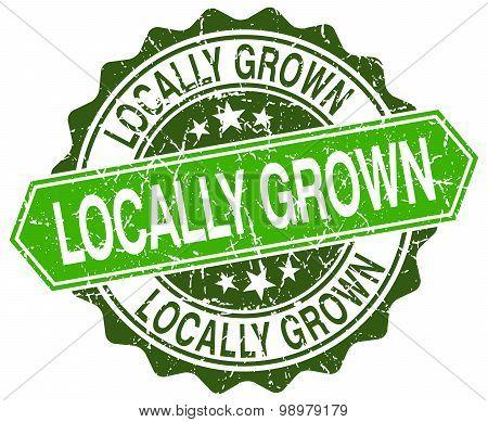 Locally Grown Green Round Retro Style Grunge Seal