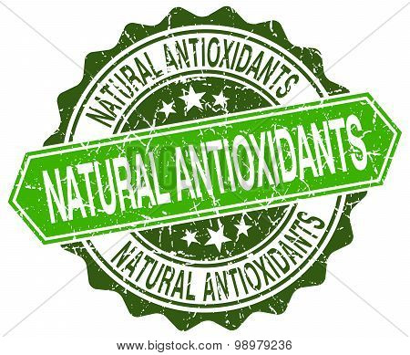 Natural Antioxidants Green Round Retro Style Grunge Seal