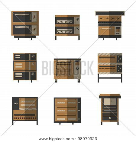 Flat color vector icons for ovens and stoves