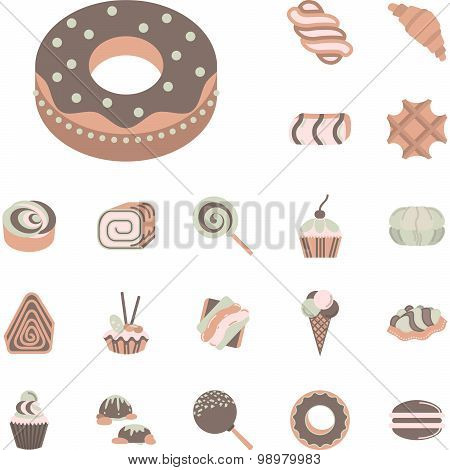 Flat icons vector collection for confectionery