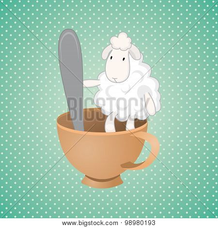 Funny Lamb Over Green Background
