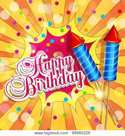 Vector festive background for birthday with firecrackers and confetti