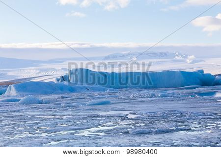 Ice lake with clear blue sky during late winter, Iceland