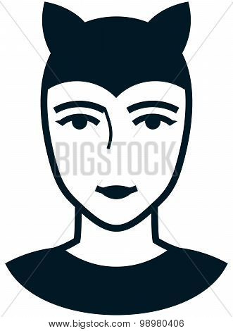 Vector Woman In Cat Costume Illustration Isolated