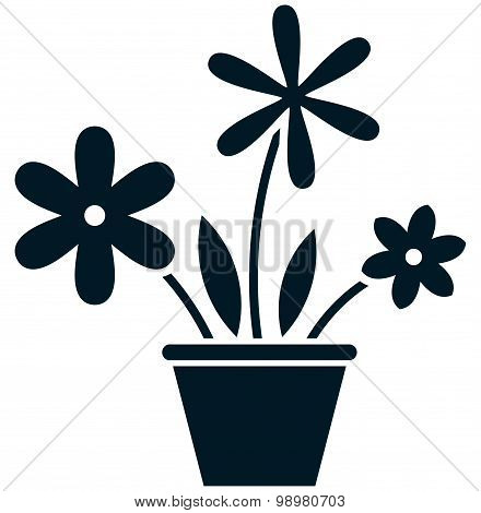 Vector Flowerpot Simple Illustration Isolated On White