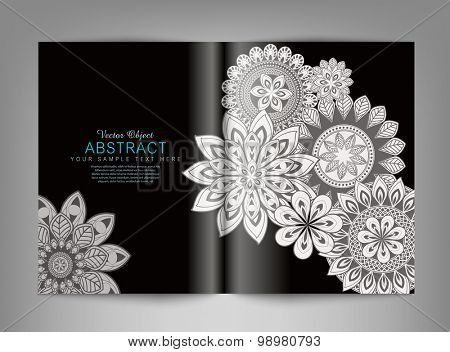 Vector reversal (template) magazine with black and white ornaments