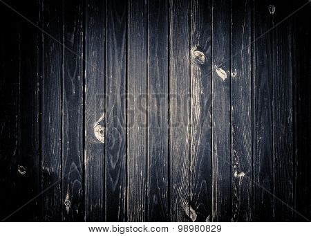 Dark gray scratched wooden wall, fence, table or floor surface.  Wood texture