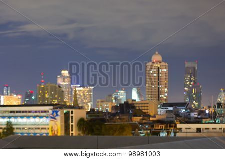 Abstract blurred lights bokeh, city building night