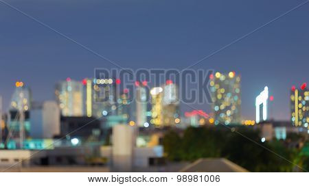 Abstract blurred lights bokeh, city night