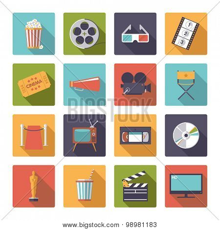 Square movie and cinema icons vector set.. Collection of 16 flat design cinema and movie themed vector icons in rounded squares
