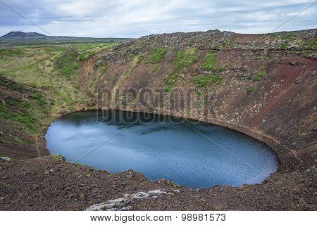 Kerid, volcanic crater lake. Iceland