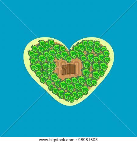 Tropical Island Shape Heart Bungalows