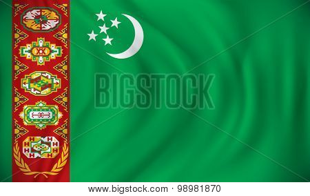 Flag of Turkmenistan - vector illustration