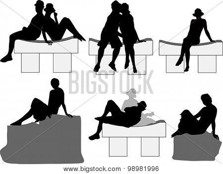 illustration with set of peoples sitting on benches