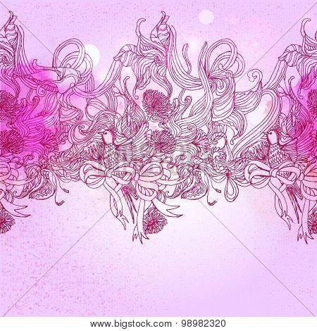 Pink Colors  Romance Background With Bird And Floral Elements