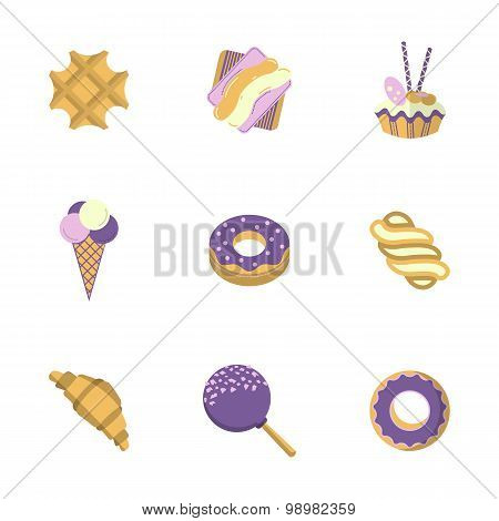 Sweets flat color vector icons