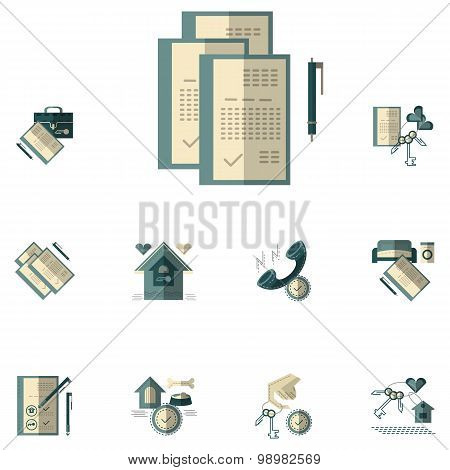 Rent of property flat color vector icons