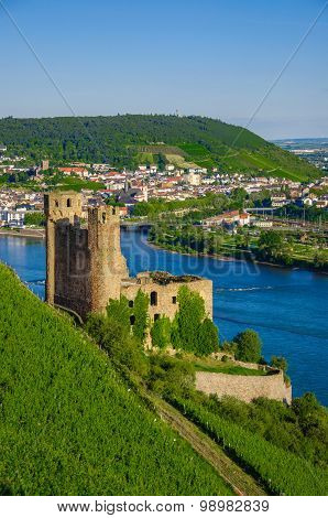 Ehrenfels Castle on Rhine river near Ruedesheim