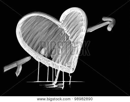 white shoe polish dripping heart