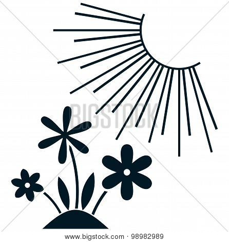 Vector Flowers Under Sun  Illustration Isolated On White