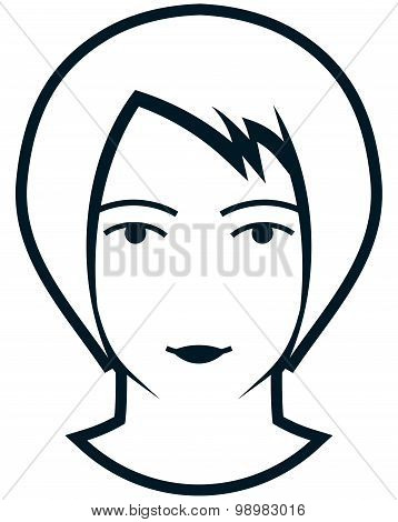 Vector Female Head Illustration Isolated On White